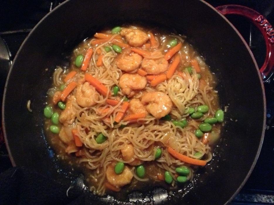 firecraker shrimp in the braiser